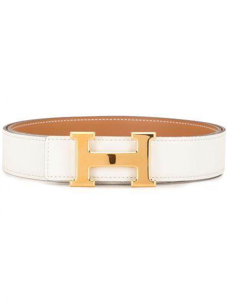Белый кожаный ремень винтажный Hermès