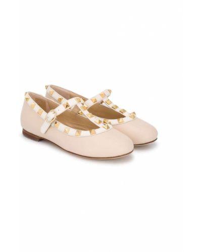 Туфли из натуральной кожи золотые круглые на плоской подошве Prosperine Kids