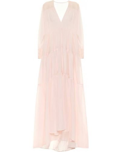 Ватное хлопковое розовое платье макси Kalita