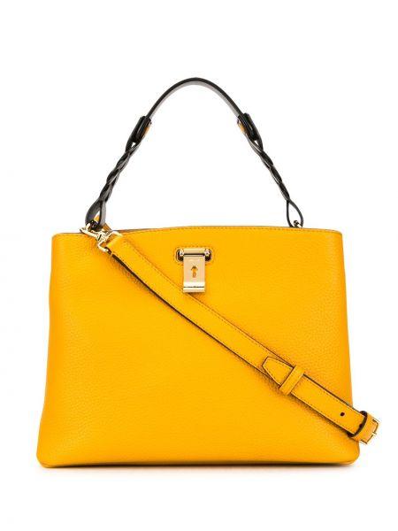 Z paskiem żółty torba kosmetyczna z prawdziwej skóry Bally