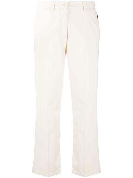Прямые белые укороченные брюки с карманами Woolrich