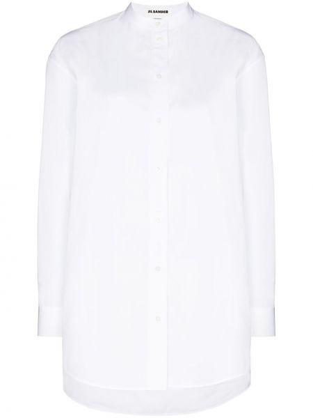 Хлопковая белая длинная рубашка с манжетами Jil Sander