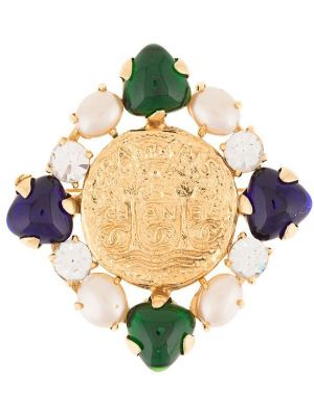 Broszka z perłami ze złota Chanel Pre-owned
