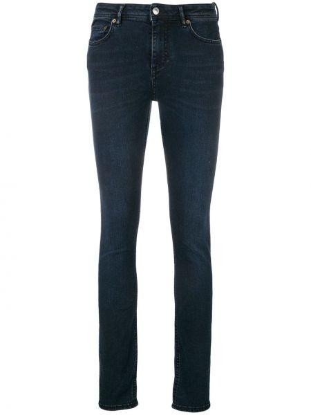 Хлопковые синие джинсы-скинни с пайетками эластичные Acne Studios
