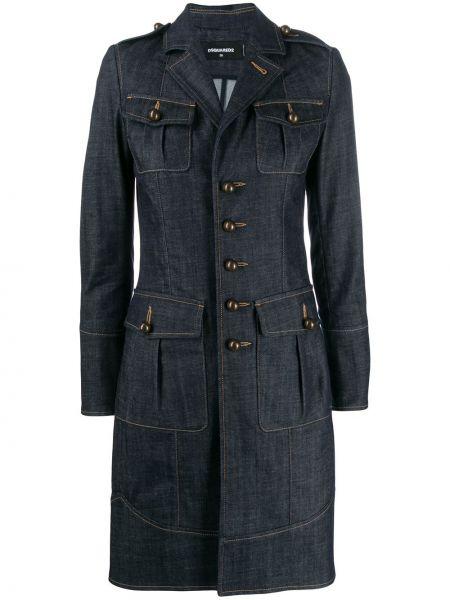 С рукавами синяя джинсовая куртка на пуговицах с воротником Dsquared2