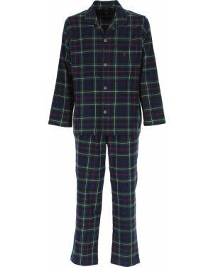 Spodni piżama bawełniana z długimi rękawami zapinane na guziki Ralph Lauren