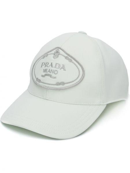 Czapka z logo biały Prada