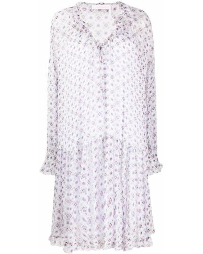 Розовое расклешенное платье с V-образным вырезом с оборками See By Chloé