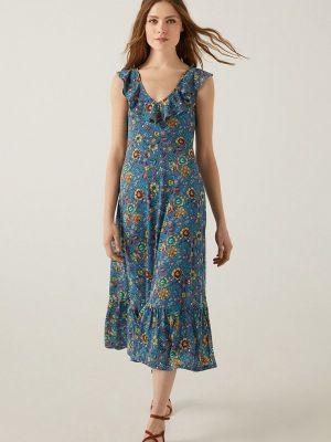 Прямое синее платье А-силуэта Springfield