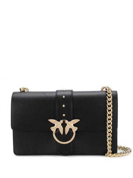 Черная сумка через плечо с перьями прямоугольная Pinko