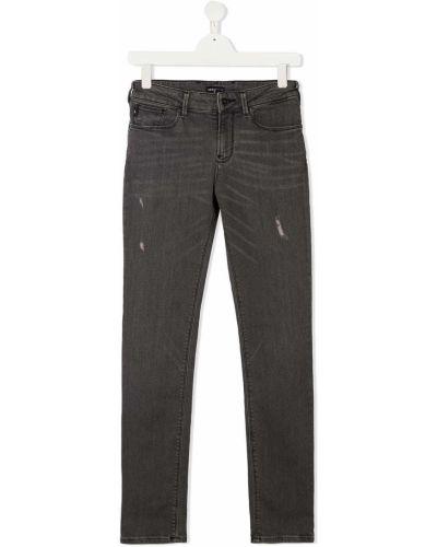 Облегающие серые джинсы-скинни на молнии Emporio Armani Kids