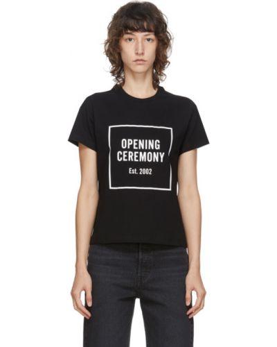 Хлопковая ватная черная рубашка с воротником Opening Ceremony
