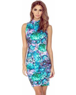Zielona sukienka mini w kwiaty materiałowa Morimia
