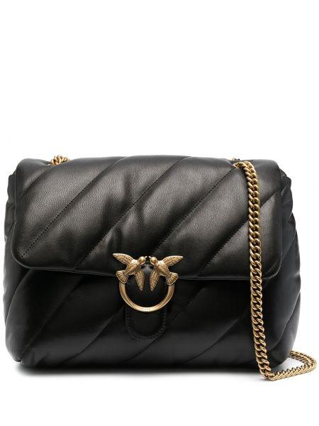 Стеганая черная сумка на цепочке металлическая Pinko