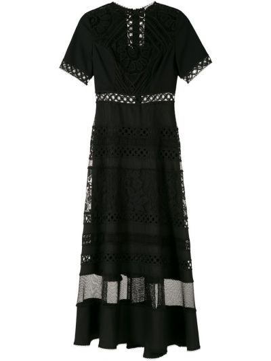 Черное ажурное платье миди с короткими рукавами круглое Martha Medeiros