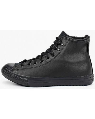Кожаные черные высокие кеды Converse
