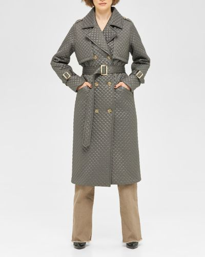 Стеганое пальто двубортное с воротником Mila Nova