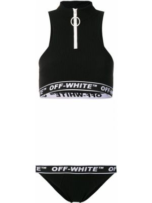 Спортивный купальник с молнией халтер Off-white