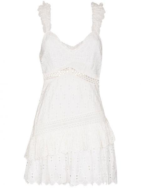 Biała sukienka z dekoltem w serek Loveshackfancy