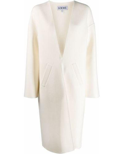 Шерстяное белое длинное пальто с воротником Loewe