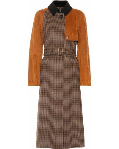 Деловое коричневое шерстяное пальто Salvatore Ferragamo