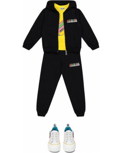 Czarny dres bawełniany Moschino Kids