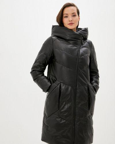 Теплая черная зимняя куртка снежная королева