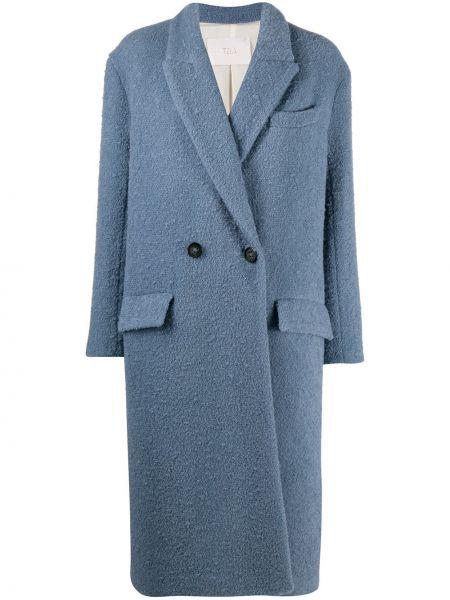 С рукавами синее шерстяное длинное пальто с карманами Tela