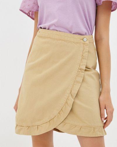 Бежевая прямая юбка карандаш Trendyol