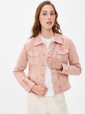 Джинсовая куртка - розовая B.style