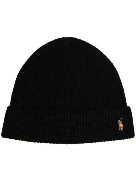 Шерстяная шапка бини - черная Polo Ralph Lauren