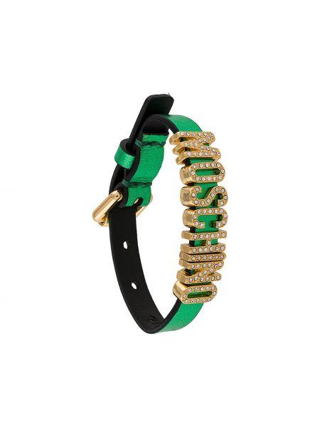 Zielona złota bransoletka klamry Moschino
