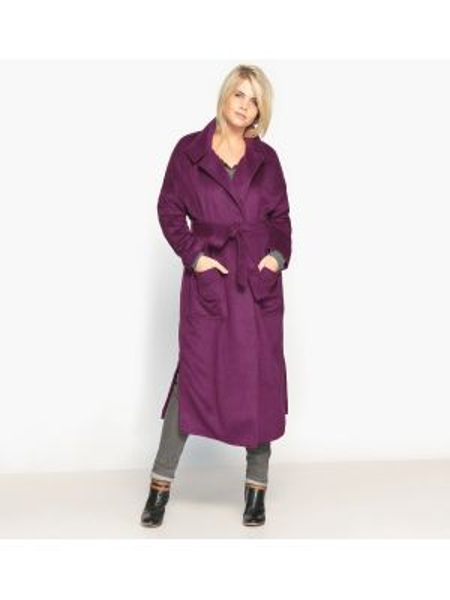 Длинное пальто с воротником-стойкой на кнопках с поясом Castaluna