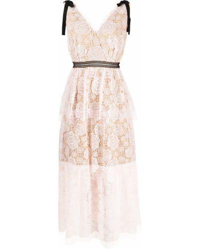 Платье миди с V-образным вырезом - розовое Self-portrait