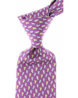 Fioletowy krawat z motylami z jedwabiu Battistoni