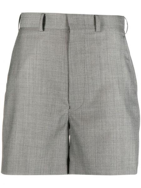Шелковые серые с завышенной талией шорты Junya Watanabe