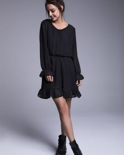 Платье мини с длинными рукавами - черное Naoko