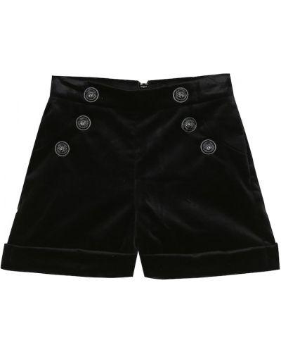 Bawełna bawełna czarny szorty na przyciskach Balmain Kids
