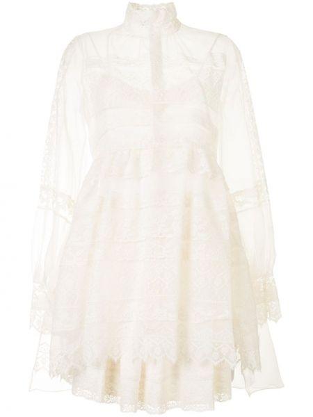 Шелковое кружевное белое платье макси Dice Kayek