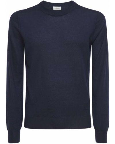 Синий кашемировый свитер с вышивкой Brioni