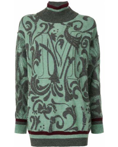 С рукавами зеленый шерстяной вязаный джемпер с воротником Antonio Marras