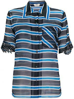 Шелковая блузка прозрачная с короткими рукавами Fendi