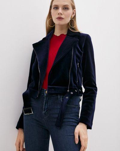 Синяя кожаная куртка Emporio Armani
