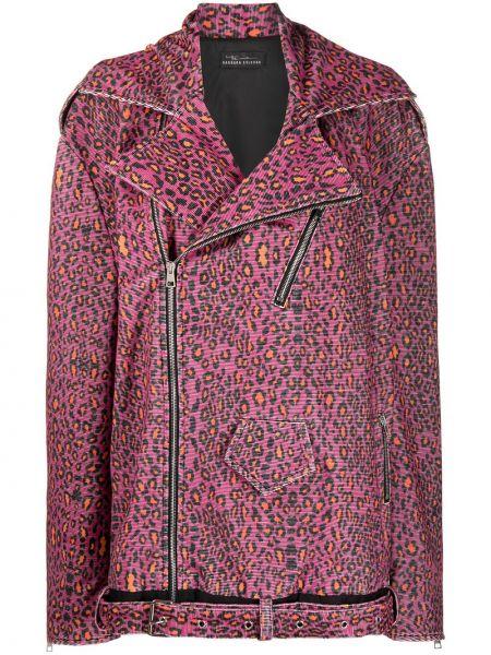 Розовая длинная куртка байкерская болоньевая Barbara Bologna