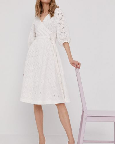Biała sukienka jeansowa rozkloszowana bawełniana Pepe Jeans
