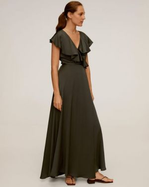 Платье мини с запахом с поясом Mango