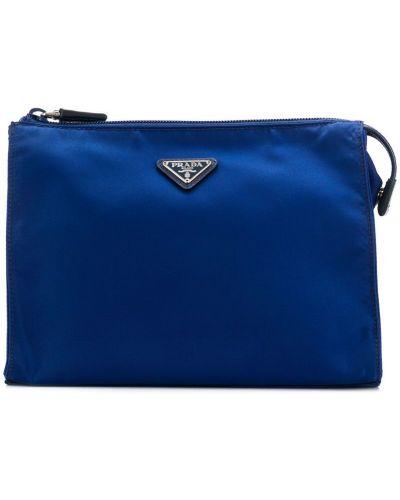 Несессер с логотипом синий Prada