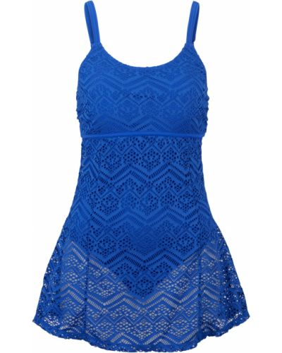 Синее мягкое купальное платье на бретелях Bonprix