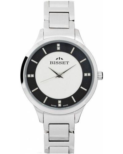 Biały klasyczny szwajcarski zegarek srebrny Bisset