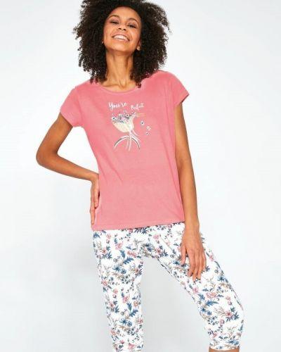 Хлопковая розовая футболка с поясом Cornette
